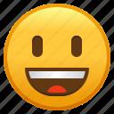 big, emoji, eyes, face, grinning, smiley, with