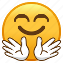 emoji, face, hug, hugging, smiley