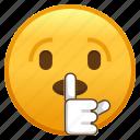 emoji, face, shushing, silent, smiley