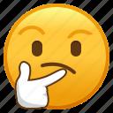 emoji, emoticon, face, smiley, think, thinking
