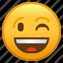 emoji, emoticon, face, smiley, winking
