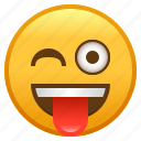 emoji, face, smiley, tongue, winking, with