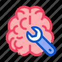 brain, medicine, neurology, wrench icon