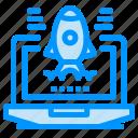 business, laptop, rocket icon