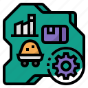 deglobalization, manufacturing, factory, manufacture, supply chain icon