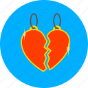 broken, heart, love, match, medalion, romantic, valentines icon