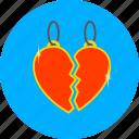 broken, heart, love, match, medalion, romantic, valentines