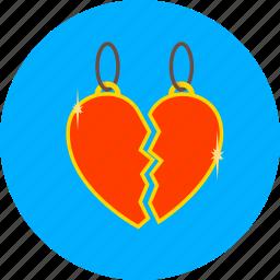 broken, heart, love, match, medalion, romantic, valentines icon