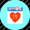 calendar, day, event, heart, love, romantic, valentine