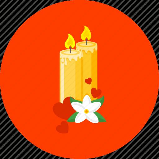 candles, celebration, christmas, decoration, love, party, romance icon