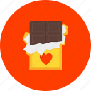 chocolate, dessert, heart, love, present, romance, sweets icon