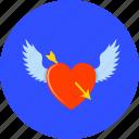 heart, arrow, love, romantic, valentine's, winged heart, valentine