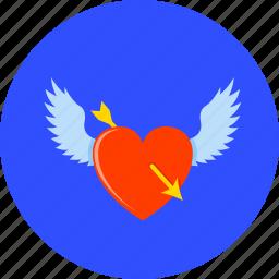 arrow, heart, love, romantic, valentine, valentine's, winged heart icon