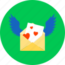 letter, love, lovewishes, mail, message, romance, wings icon