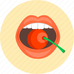 cherry, coquetry, girl, lady, lips, sexy, woman icon