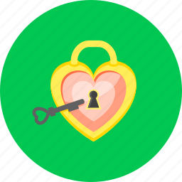 acces heart, access, key, lock, password, private, safe icon