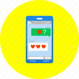 chat, communication, love, lovechat, message, mobile, phone icon