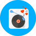 audio, boom box, hearts, music, sound, turntable, vinyl icon