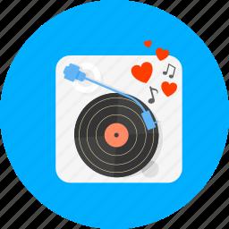 audio, boom box, hearts, music, sound, turntable, vinyl icon