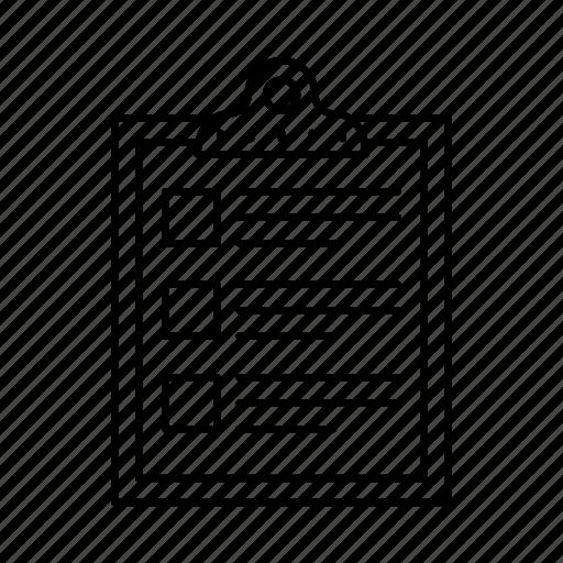 clipboard, document, list, paper board, sheet icon
