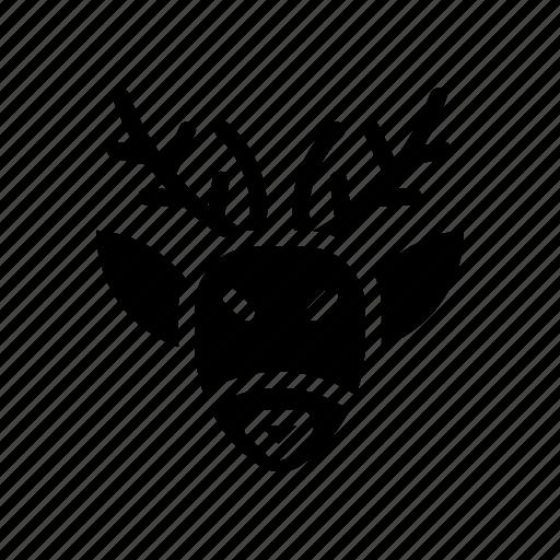 deer, elk, head, rudolph, santa, winter, xmas icon