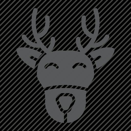 christmas, deer, head, moose, reindeer, rudolph icon