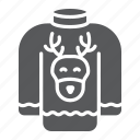 christmas, clothes, deer, holiday, sweater, winter icon