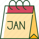 calendar, january, time, month, new year, date icon