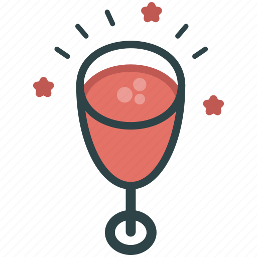 alcohol, champagne, pink champagne, pink drink icon