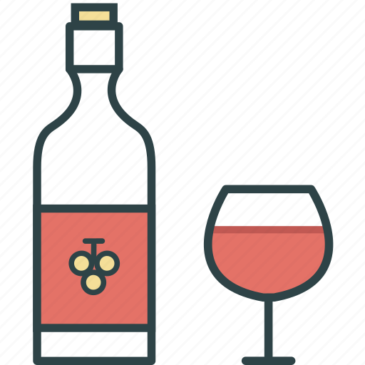 alcohol, bottle, drinks, glass, wine icon