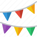 buntings, decoration, new year, bunting, birthday icon