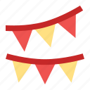 buntings, celebration, decoration, new year, party icon