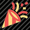 cone, confetti, new year, party, popper icon
