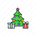 christmas, decorated, tree, gifts icon