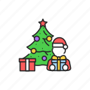 christmas, decorated, tree, gifts, child