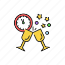 new, year, celebration, clock, glass