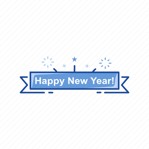 banner, celebration, greetings, happy new year icon