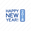 celebration, happy new year, new year, twenty eighteen icon
