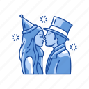 couple, couple kissing, kissing, love, new year's eve icon