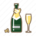 champagne, cork, glass, open icon