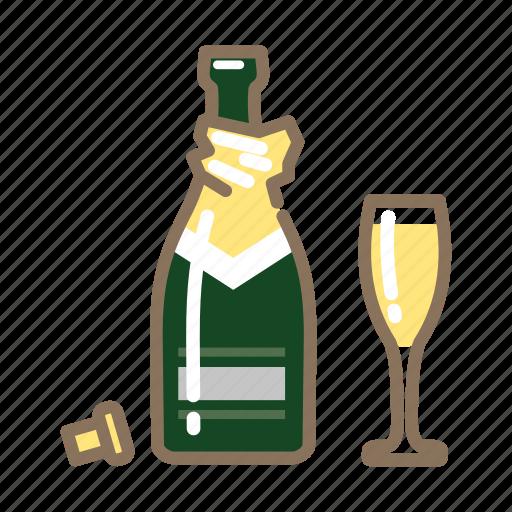 champagne, cork, glass, open icon
