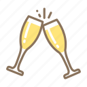 celebrate, cheers, flutes, glass, to, toast icon