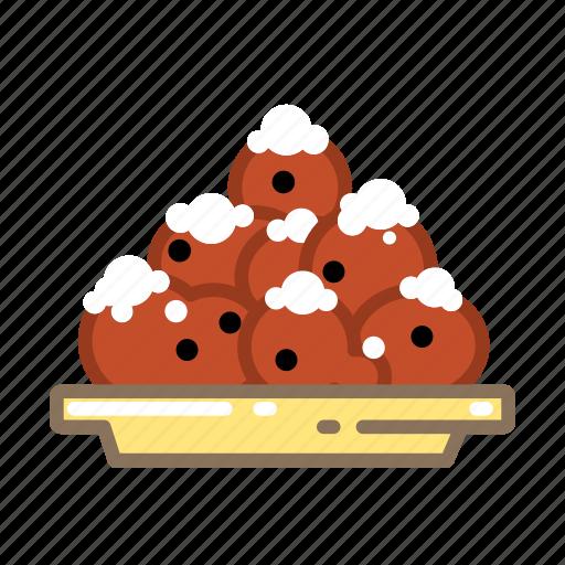doughnuts, dutch, oliebollen, plate icon