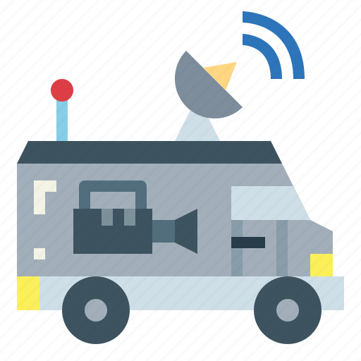 communications, news, satellite, van icon