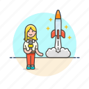 media, mission, network, news, reporter, rocket, woman icon