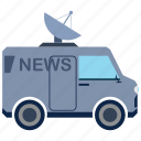 antenna, bus, information, media, news, transport icon