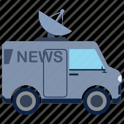 antenna, bus, information, media, news, transport icon