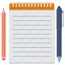 information, notes, pencil icon