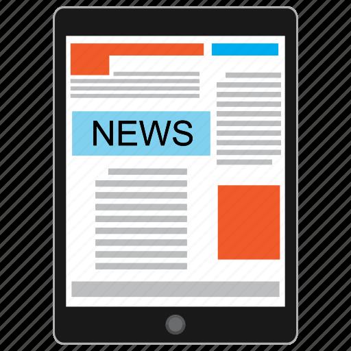 information, internet, media, news, tablet icon