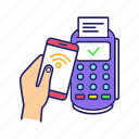 cashless, nfc, payment, pos terminal, purchase, smartphone, transaction icon